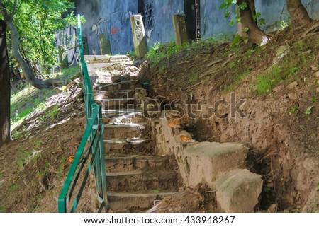 Stairways in the historic city centre. Lviv, Ukraine - stock photo