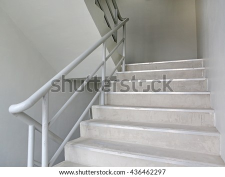 stairwell fire escape in a modern building - stock photo