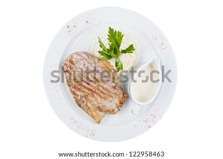 stake with mashed potatoes and sauce - stock photo