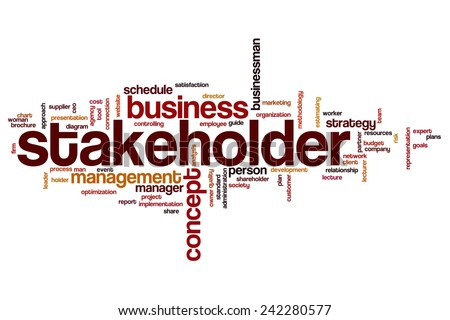 Stakeholder word cloud concept with business budget related tags - stock photo