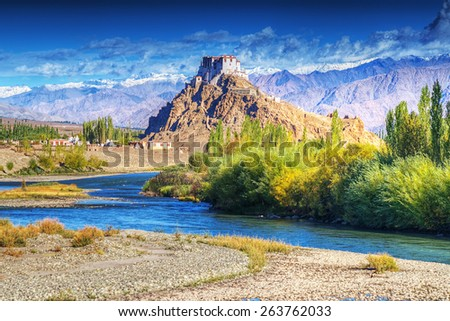 Stakna monastery with view of Himalayan mountains - it is a famous Buddhist temple in,Leh, Ladakh, Jammu and Kashmir, India. - stock photo