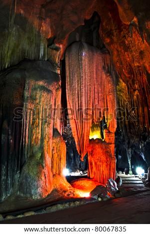 Stalagmite stalactite - stock photo