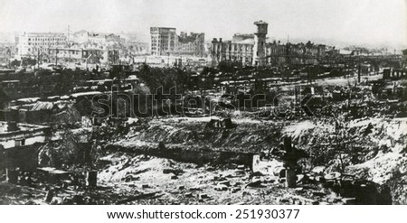Stalingrad after the first months of the German attack, Nov. 1942 after two months of battle. Stalingrad was still defended by her citizens and workers and the Soviet (Russian) Army. World War 2. - stock photo