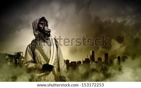 Stalker against nuclear background. Disaster and pollution - stock photo