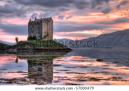 Stalker castle, Highlands, Scotland, seen at dusk - stock photo