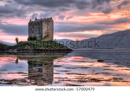 Stalker castle, Highlands, Scotland, seen at dusk - stock photo