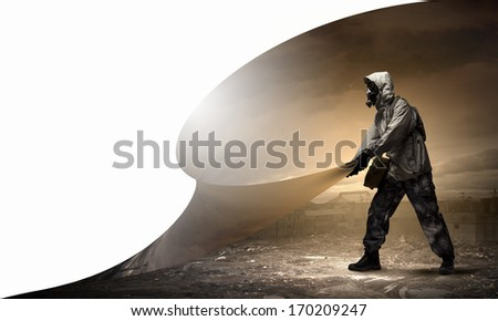 Stalker changing reality into clear and healthy future - stock photo