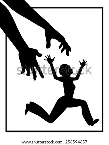 Stalking of Woman. Concept sign of person obsessively molesting woman who desperately tries to escape  - stock photo