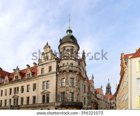Stallhof in Dresden,Germany (Dresdner Residenzschloss,Dresdner Schloss).Dresden Castle or Royal Palace is one of the oldest buildings in Dresden.It has been residence of electors and kings of Saxony   - stock photo