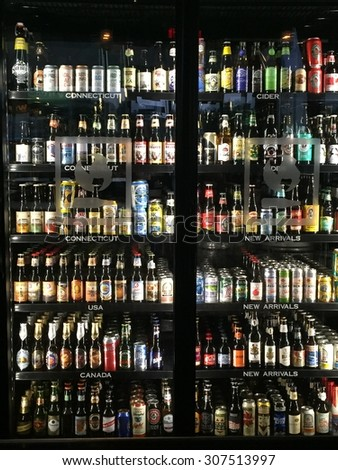 STAMFORD, CT - JULY 25: World of Beer in Stamford, Connecticut, as seen on July 25, 2015. It is a hangout featuring 500+ global beers, craft drafts & tavern food. - stock photo