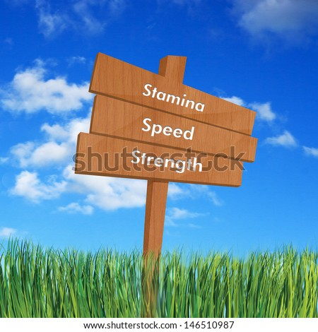 Stamina, speed, and strength on sign board - stock photo