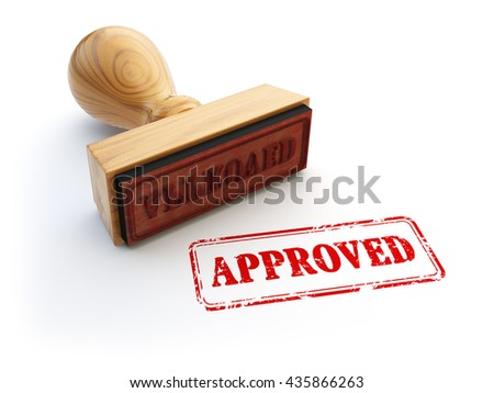 Stamp Approved isolated on white. Agreement or approval concept. 3d illustration - stock photo