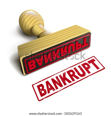 stamp bankrupt with red text over white background - stock photo
