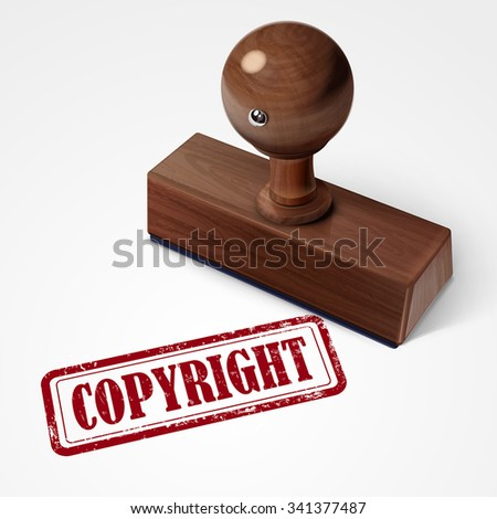 stamp copyright in red over white background - stock photo