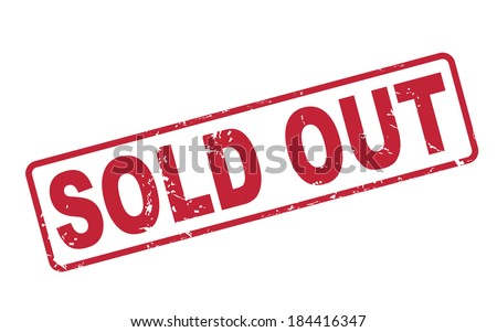 stamp sold out with red text over white background - stock photo