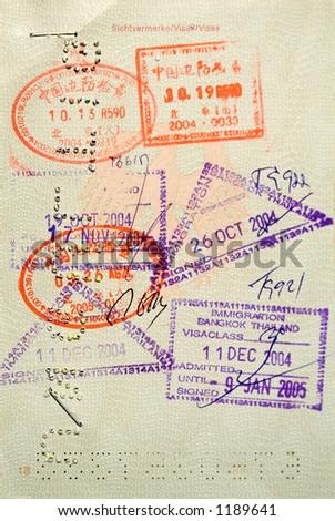 Stamped Passport - stock photo