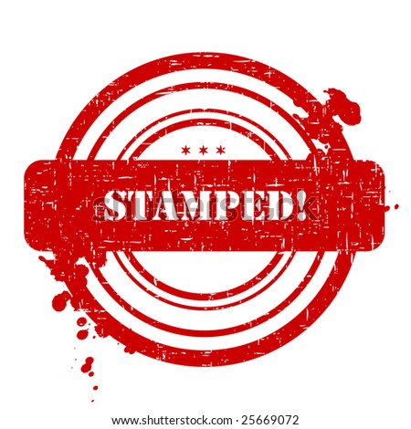 Stamped stamp isolated on white background - stock photo