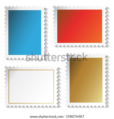 stamps stickers - stock photo