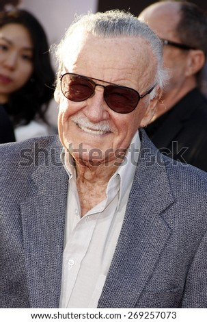 Stan Lee at the World premiere of Marvel's 'Avengers: Age Of Ultron' held at the Dolby Theatre in Hollywood, USA on April 13, 2015.  - stock photo