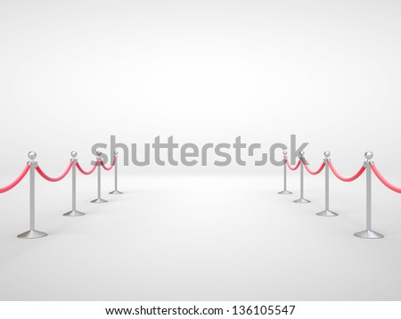 stanchions barrier in gray room - stock photo