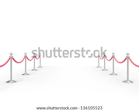 stanchions barrier in white room - stock photo