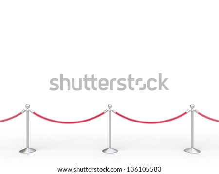 stanchions barrier isolated on white - stock photo