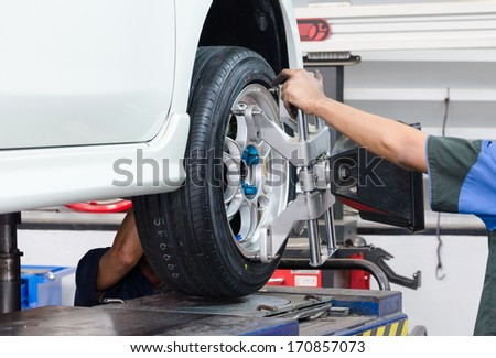 Stand balancing of wheels - stock photo
