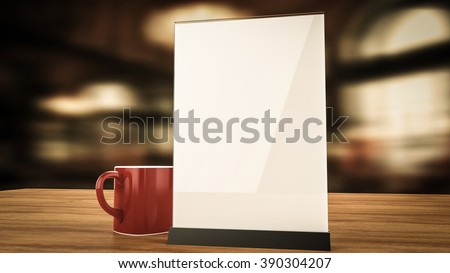 Stand for booklets with white sheets of paper acrylic table tent card mockup on wooden table with cup of coffee on blurred background 3d render - stock photo