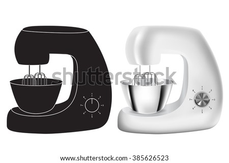 Stand Mixer  isolated on white background. Stainless steel. Raster version - stock photo