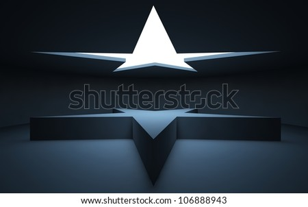 Stand on the object in the form of stars, standing in a dark room, illuminated by light from the round window in the ceiling. - stock photo