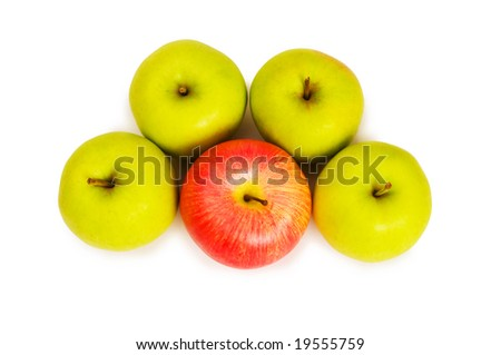Stand out from crowd concept with apples isolated on white - stock photo