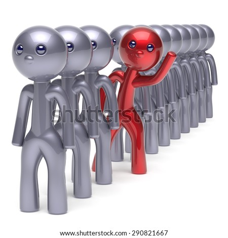 Stand out from the crowd character different individuality  people unique red man think differ person otherwise hello to new opportunities concept human resources hr icon. 3d render isolated - stock photo