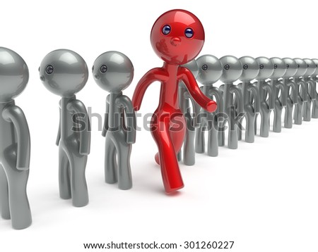 Stand out from the crowd individuality man different character people red think differ unique person otherwise run to new opportunities concept referendum vote icon 3d render isolated - stock photo
