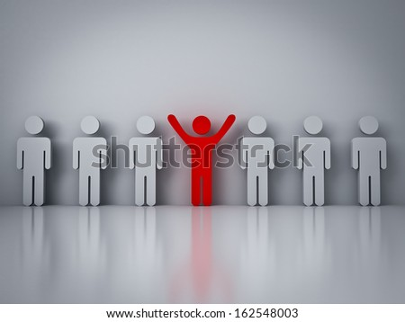 Stand out from the crowd or different concept , Red man standing with arms wide open with other people - stock photo