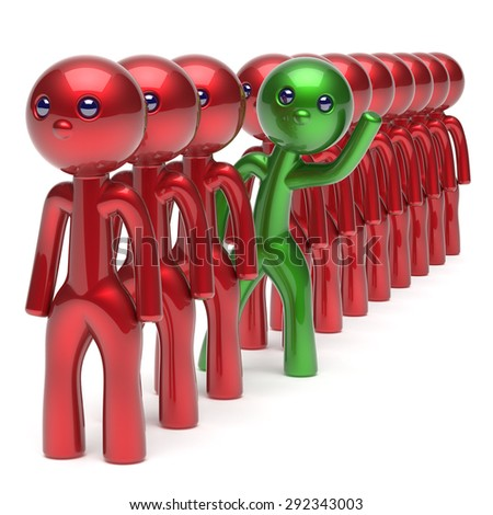 Stand out from the red crowd different people character individuality unique green man think differ person otherwise welcome to new opportunities concept human resources hr icon. 3d render isolated - stock photo