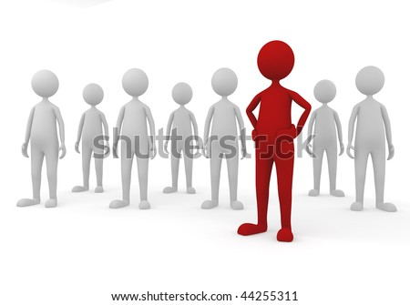 Stand out in team. 3D concept depicting successful leader in a team - stock photo