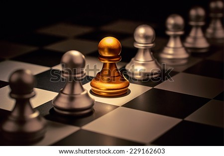 Stand out of a crowd  individuality concept Odd Chess Piece - stock photo