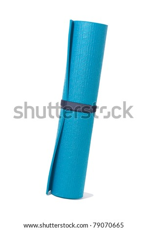 stand roll yoga mat on white and path - stock photo