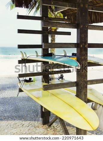 Stand - surfboards - radical and adventure sports - Ipanema Beach - rio de Janeiro - stock photo