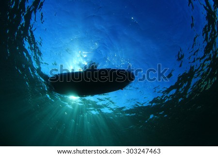 Stand up Paddle Surf Board from below - stock photo