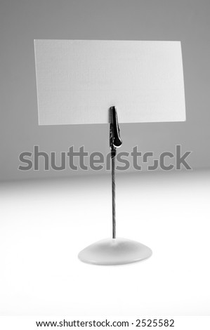 Stand with blank business card for your own logo or text. - stock photo