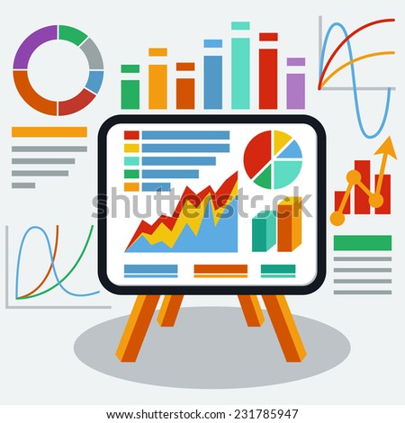 Stand with charts graphs and parameters. Business concept of analytics. Raster version  - stock photo