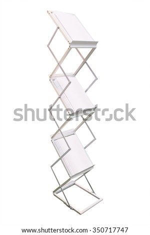 Stand with magazines isolated on white background - stock photo