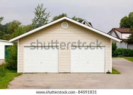 Standalone double garage - stock photo
