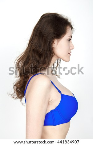 Standard model tests of young pretty woman on a white background,Test Shots young models for modeling agency on a white background with ,young beautiful woman in a bathing suit - stock photo