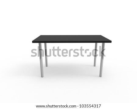 Standard office desk  on a white background - stock photo
