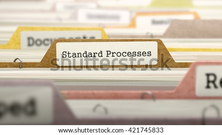 Standard Processes Concept on File Label in Multicolor Card Index. Closeup View. Selective Focus. 3D Render.  - stock photo