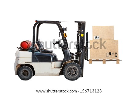 Standard small gas engine truck lift with cardboard cargo boxes isolated on white - stock photo