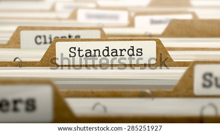 Standards Concept. Word on Folder Register of Card Index. Selective Focus. - stock photo