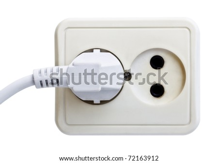 standart outlet with plug isolated on white - stock photo
